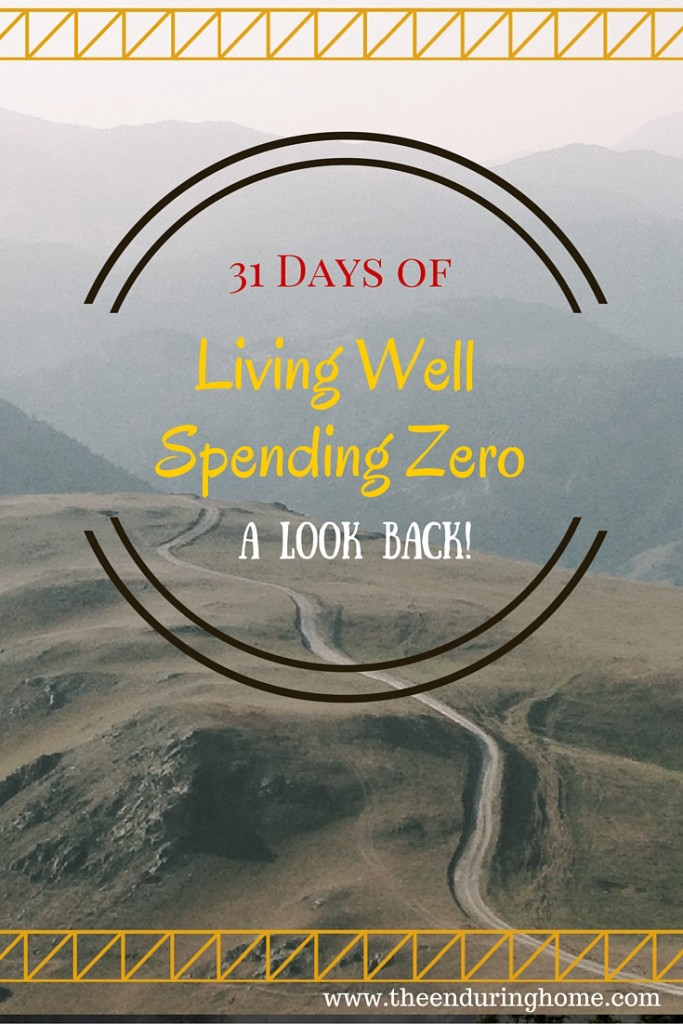 A Look Back on 31 Days of Living Well and Spending Zero