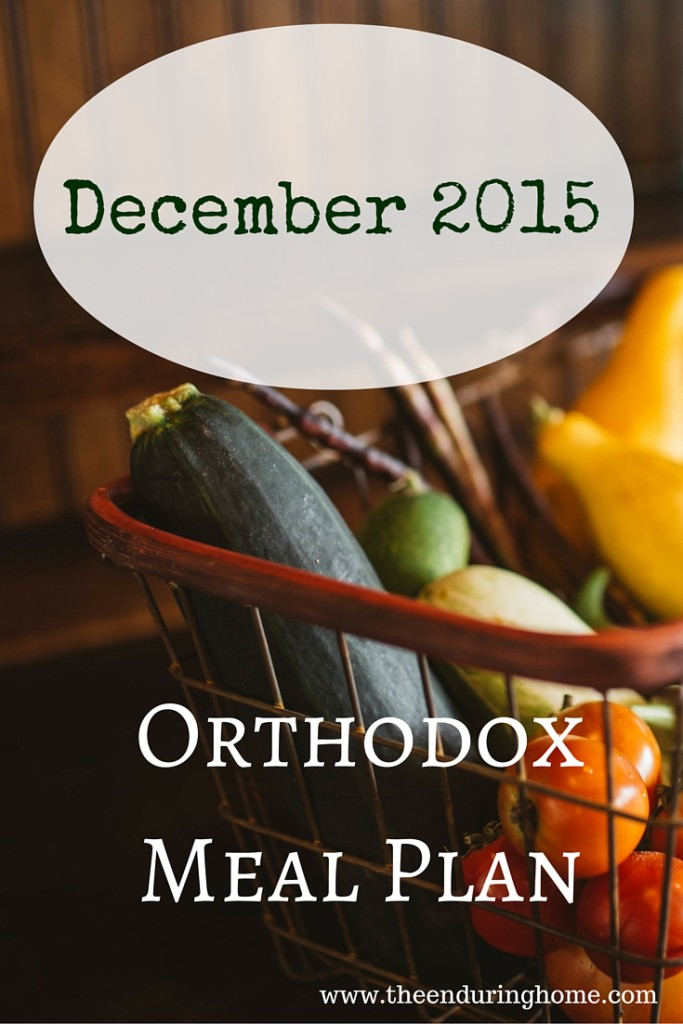 Orthodox Menu Plan December 2015