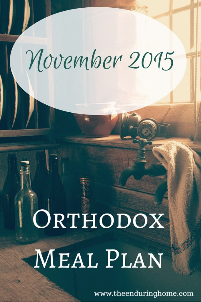 Orthodox Menu Plan for November