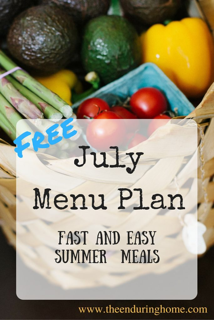 Free July Menu Plan