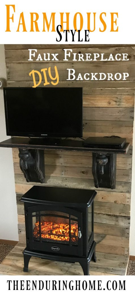 DIY Faux Fireplace Backdrop Farmhouse Style